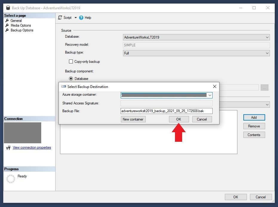 Azure SQL - Backup to Container Using SSMS Backup Wizard Step 7