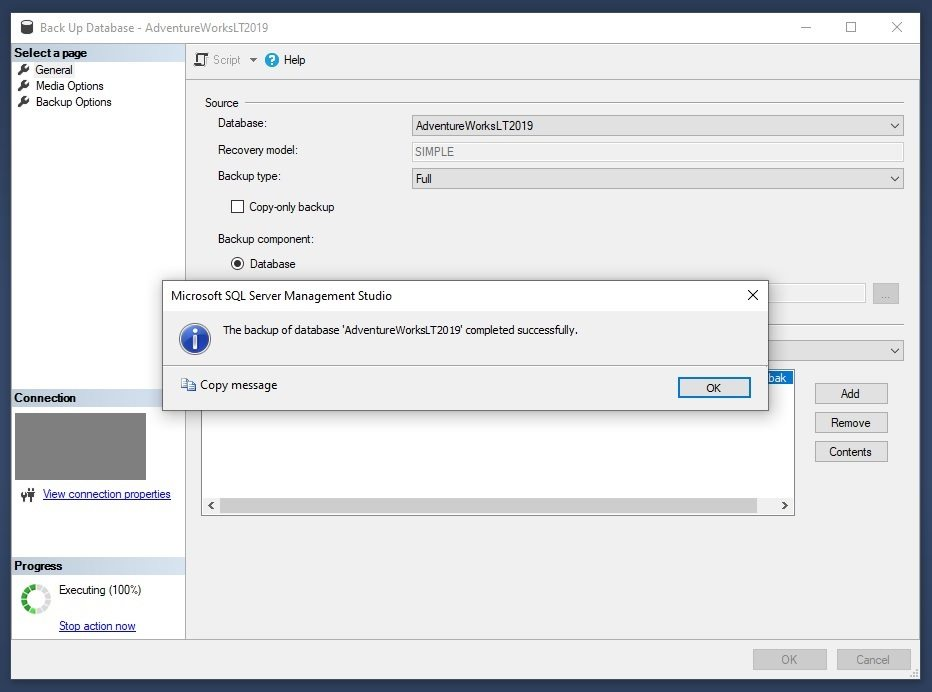 Azure SQL - Backup to Container Using SSMS Backup Wizard Step 9