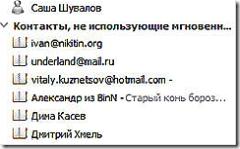 Контакты, неиспользующие WLM